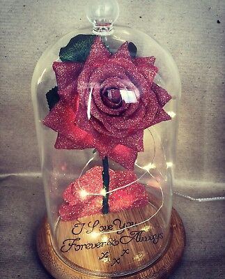 Beauty and the Beast Enchanted Rose *Glitter Valentines/Wood Engraved