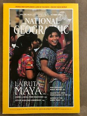 National Geographic magazine October 1989 With Map of Ancient Maya World, Copan