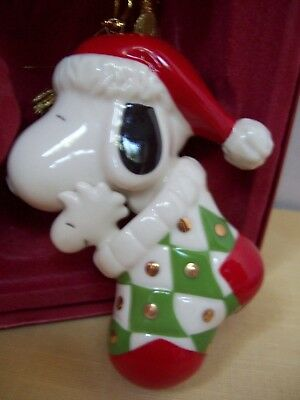 "LENNOX ""Snoopy in Stocking"" ORNAMENT,  Still in Original Container"