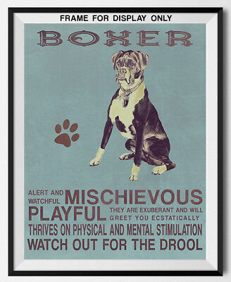 BOXER Dog character Quote Art Print 8 x 10 DIY home wall decor unframed