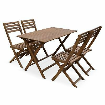 Table de jardin en bois 120x70cm - Madrid - Table bistrot pliante rectangulaire