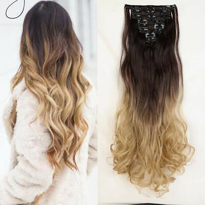 Mixed colour Synthetic Full Head double weft clip in Hair Extension Ombre Curly