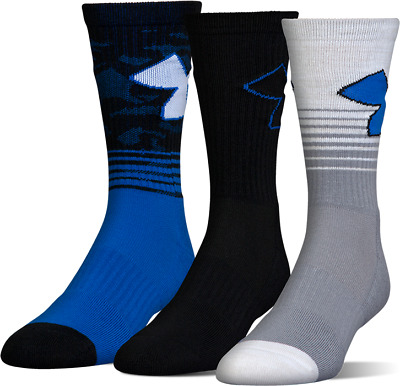 Under Armour PHENOM 2.0 Youth Crew Socks 3 Pack YLG Large Athletic Performance