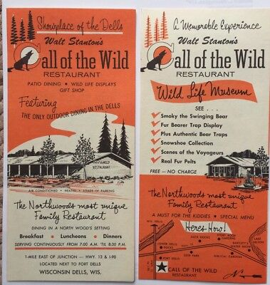 Vintage Restaurant Menu Walt Stantons Call of the Wild Wisconsin Dells Shell Oil