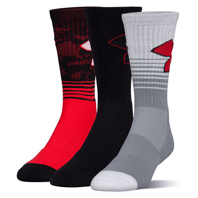 Under Armour PHENOM 2.0 Youth Crew Socks 3 Pack YLG Large Black Red Athletic New