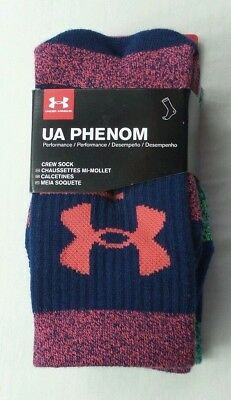 Under Armour PHENOM 2.0 Youth Crew Socks 3 Pack YLG Large Black Red Blue Green