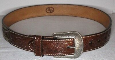 "3D Geniune Handtooled Brown Leather Mens Western Belt 7314 Silver Buckle 37"" New"