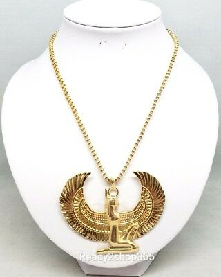 Egyptian Winged Goddess Ancient Necklace Statement Egypt Pendant Gold Chain New