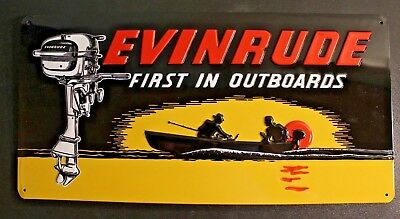 Metal Tin Evinrude First In Outboards Sign