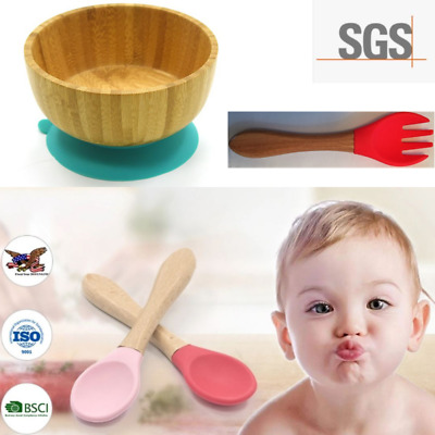 Baby Bamboo Suction Bowl with BONUS matching Fork and Spoon-Food Grade Silicone