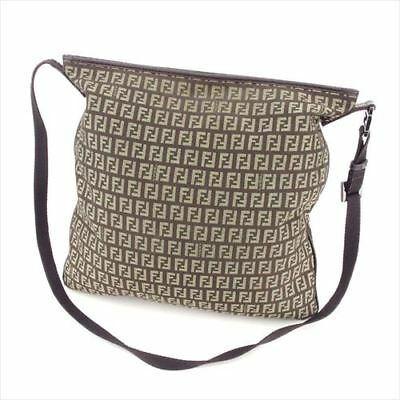 Fendi Shoulder bag Zucchino Brown Beige Canvas Leather Woman Authentic Used  S915 ccfdb2a202