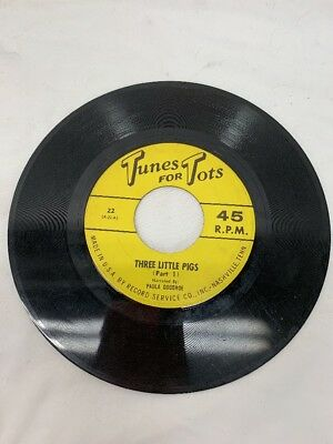 Vintage Tunes para Tots Three Little Pigs Registro 45 Prm