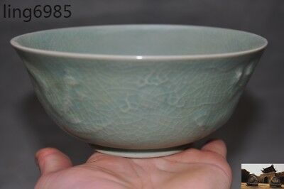 "6"" Chinese dynasty Longquan kiln old porcelain glaze lotus shape bowl Cup bowls"