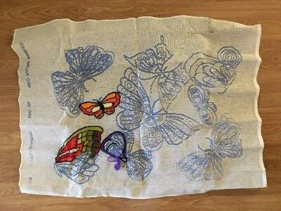 "Vtg Columbia Minerva Printed Needlepoint Canvas Butterfly #1594 30""x23"" M.Boyles"