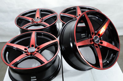17x7.5 5x114.3 5x100 Red Wheels Fits Nissan Rogue Sentra Altima Civic 5 Lug Rims