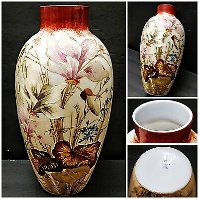 """Vintage Bristol Hand Painted Floral Glass Vase, Yellow on Opaque White, 11.25"""" T"""