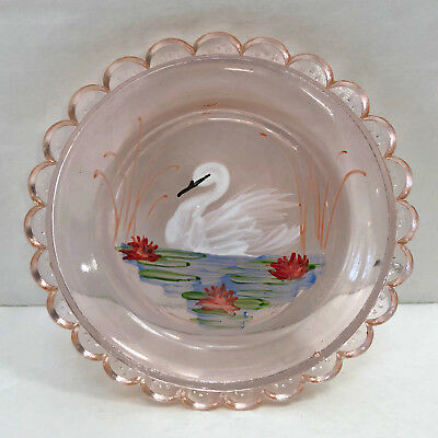 Pairpoint Glass Cup Plate Swan Lake Hand Painted Pink 1995 Translucent