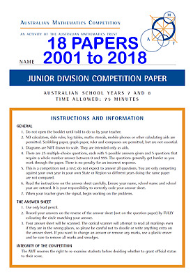 Australian Mathematics Competition AMC AMT +solutions Junior(yr 7 & 8) 18 papers