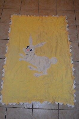 "Vintage Handmade Quilt Farmhouse Child's Bunny Rabbit Patchwork 51"" x 35"""