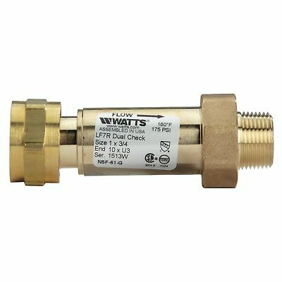 "1"" x 3/4"" Backflow Preventer Dual Check Valve Lead Free Brass  Watts LF7R10-U3"