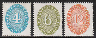 Stamp Germany Official Mi 127-9 Sc O63,6,72 Dienst Reich Inflation Straw Hat MH
