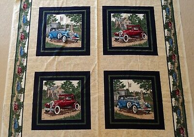 vip vintage antique autos cotton quilt fabric panel car automobile old-fashioned