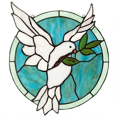 Dove Of Peace Tiffany-Style Design Toscano Exclusive Stained Glass Window