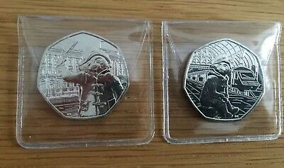 Royal Mint 2018 Paddington Bear 50p Set: 2 Coins UNC FROM SEALED BAG, In Wallets
