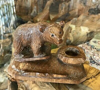 Beautiful Antique Vintage Carved Black Forest Swiss Bear Carving Inkwell