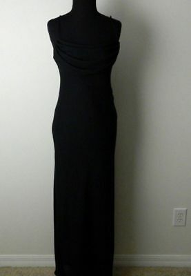 Jump Apparel Vintage 80's Black Polyester Maxi Evening Cocktail Dress Womens 7 8