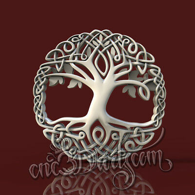 3D Model STL for CNC Router Artcam Aspire Celtic Tree Life Panel Cut3D Vcarve