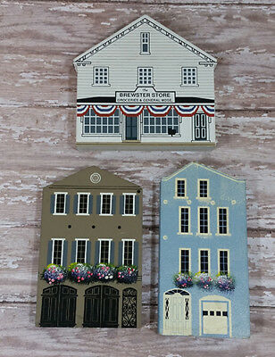 Wood Block Houses Sheila's Rainbow Row and Cat's Meow Brewster Store Vintage