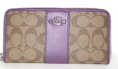 Coach Signature PVC Accordion Zip Around Wallet Khaki & Berry F54630 NWT $250