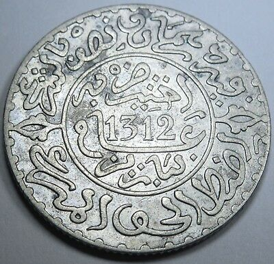 Morocco 1312 2-1/2 Dirhams 1/4 Rial Beautiful VF-XF Antique Moroccan Coin AH1312