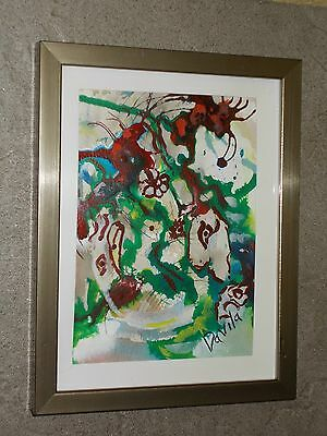 """""""forever Yours"""" Original  Abstract Floral Acrylic Painting By Us Artist, Framed"""