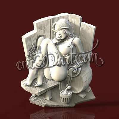 3D Model STL for CNC Router Artcam Aspire Sauna Nude Girl Panel Cut3D Vcarve