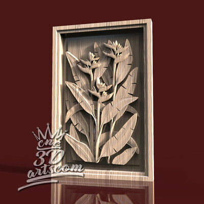 3D Model STL for CNC Router Artcam Aspire Flowered Wall Panel Cut3D Vcarve