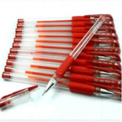 12Pcs 0.5mm Red Gel Ink Rollerball Ballpoint Pen Stationery Office School