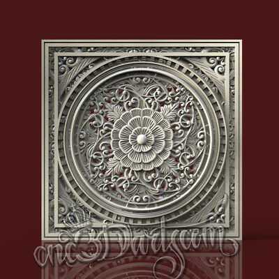 3D Model STL for CNC Router Artcam Aspire Wall Panel Scroll Decor Cut3D Vcarve