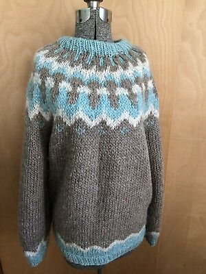 Women's Hand Knit Icelandic Gorgeous Colors Fair Isle Mohair Sweater M