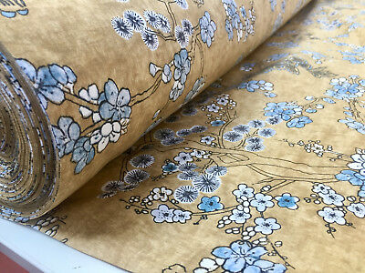 Japanese Sakura Blossom Cherry Floral Twill Curtain Fabric -140cm wide - Mustard