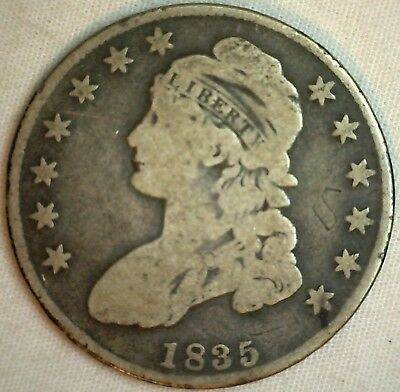 1835 Early Capped Bust Silver Half Dollar Lettered Edge US Type Coin Damaged K