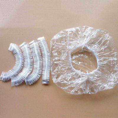 100 x Disposable One-off Hotel Shower Bathing Clear Hair Elastic Caps Hats FOZY