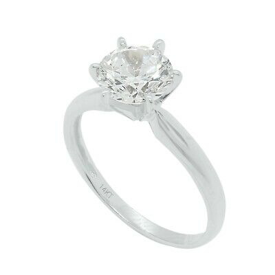 1 Ct Round Cut Diamond Solitaire Engagement Wedding Ring Solid 14K White Gold