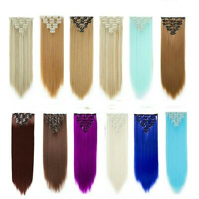 Long Synthetic Full head Clip Hair Extension Ombre Straight Looks Natural Hair
