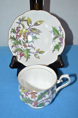 Royal Albert Bone China Cup & Saucer Holly No. 12 Flower of the Month Series
