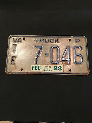 1983 Virginia Truck License Plate (TE 7-046)