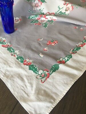 Vintage Red & Grey Printed Cotton Tablecloth