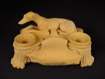 RARE EARLY 1800s GREYHOUND or WHIPPET DOG INK WELL CANE CANEWARE YELLOW WARE