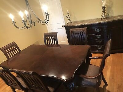 Bernhardt dining room table with 10 chairs and Marble Buffet cabinet-Beautiful!